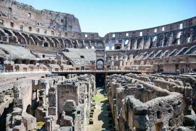 Inside Colosseum. Different animals, such as tigers and lions, and gladiators were kept bellow the stage. The stage was wooden but with sand on it too.